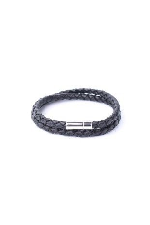 Bracelet Tressé Double Noir